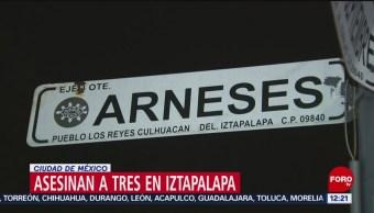 FOTO: Asesinan a balazos a tres personas en Iztapalapa, CDMX, 17 Agosto 2019