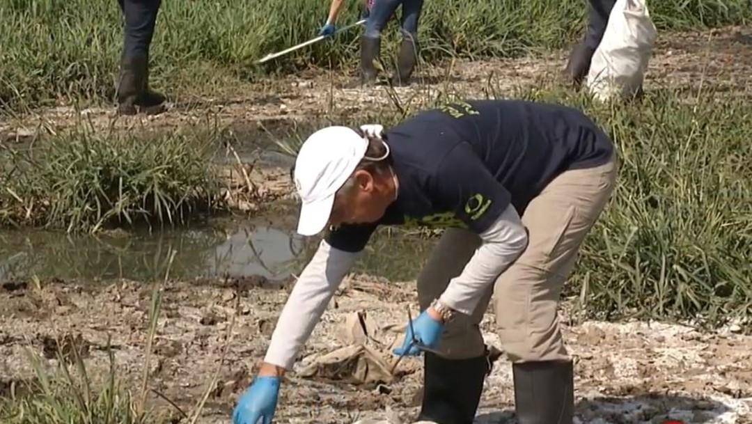 Foto: El señor Emilio Azcárraga Jean, presidente ejecutivo del Consejo de Administración de Grupo Televisa, durante la limpieza de la laguna de la Piedad en Cuautitlán Izcalli, Edomex, el 17 de agosto de 2019 (Noticieros Televisa)