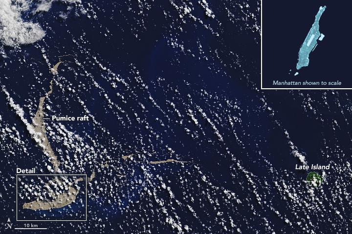 FOTO Balsa de piedra pómez flota en el Pacífico, reporta NASA (Earth Observatory)