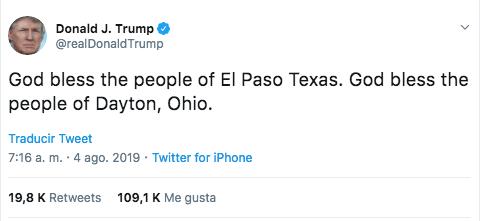 Foto: Tweet Donald Trump El Paso. 4 agosto 2019