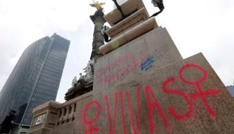 daños en el Ángel de la Independencia. (