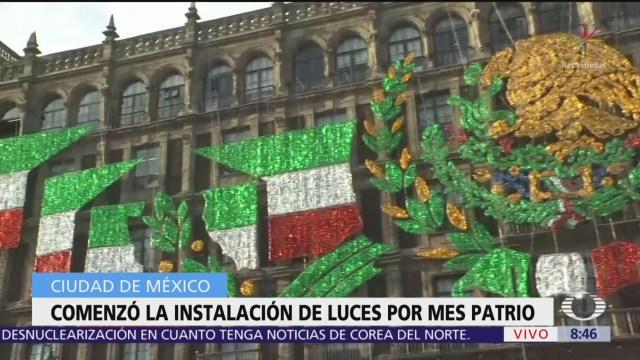 CDMX ya prepara adornos de fiestas patrias en el Zócalo