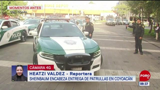 Claudia Sheinbaum entrega patrullas en la alcaldía Coyoacán, en CDMX