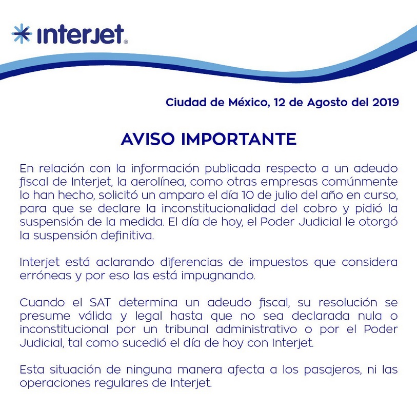 Comunicado de Interjet.