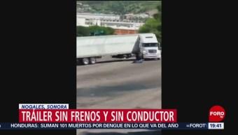 Foto: Conductor Olvida Poner Frenos Tráiler Sonora 19 Agosto 2019