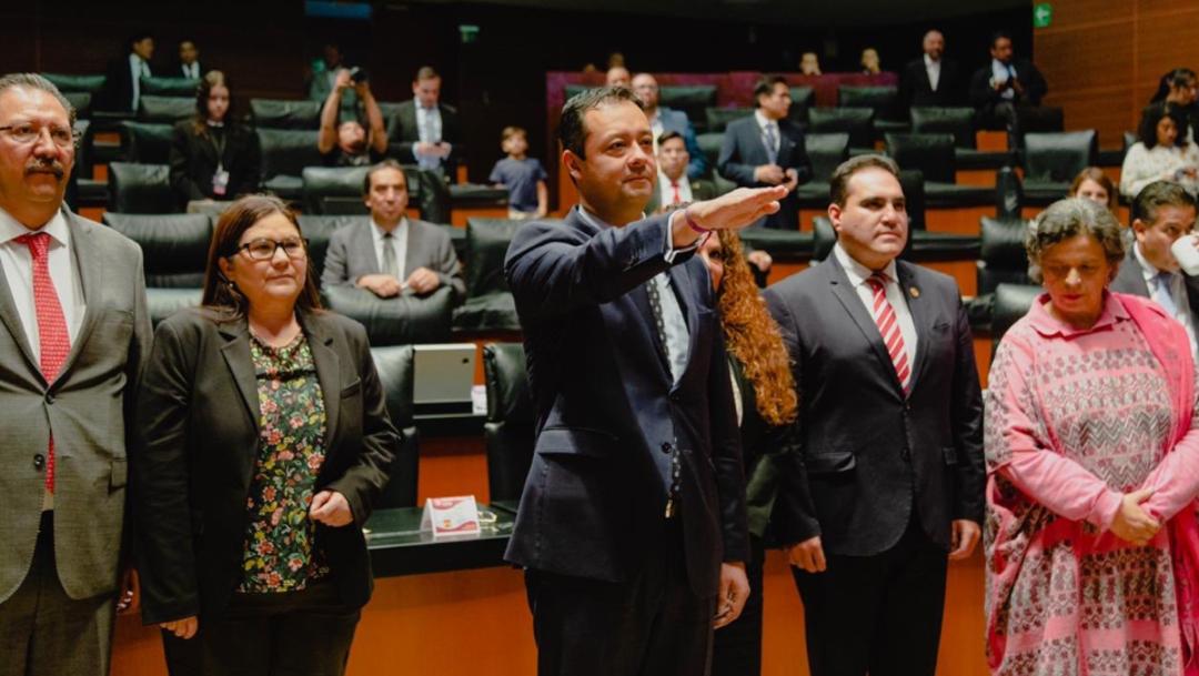 Foto: El diputado Reginaldo Sandoval Flores, del Partido del Trabajo, resaltó la trayectoria y el trabajo que realizó en la Secretaría de Finanzas del Gobierno de la Ciudad de México, 21 de agosto de 2019 (Twitter @GabrielYorio)