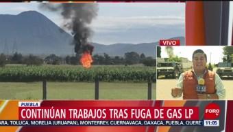 Continúan trabajos tras fuga de gas LP en la autopista México-Puebla