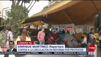 Cortes a la circulación por protestas de campesinos frente al Senado