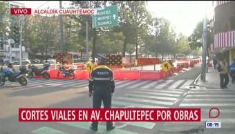 Cortes viales en la avenida Chapultepec por obras