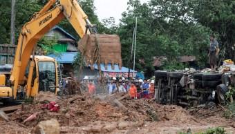 Más de medio centenar de muertos por el alud en Birmania