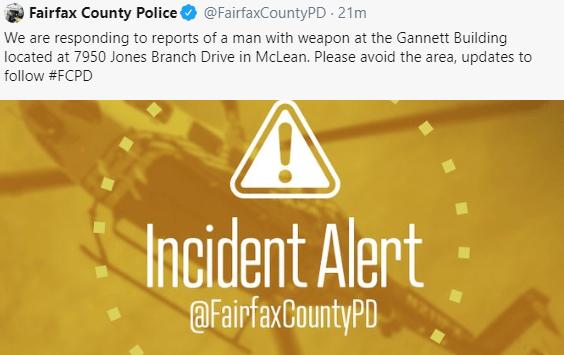 IMAGEN Desalojan oficina de USA Today en Virginia por hombre armado (Twitter)