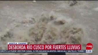 FOTO: Desborda río Cusco por fuertes lluvias en Huixtla, Chiapas, 18 Agosto 2019