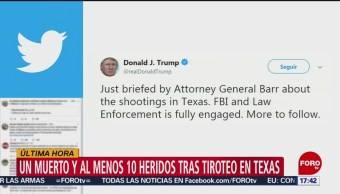 FOTO: Donald Trump informa que FBI trabaja en tiroteo en Texas, 31 Agosto 2019