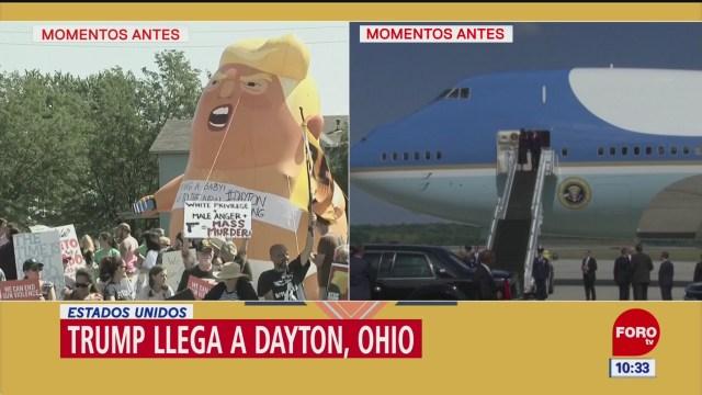 Donald Trump, llega a Dayton, Ohio; se registran manifestaciones