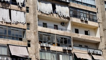 Foto: Drones dañan edificio en Beirut, 25 de agosto de 2019, Líbano