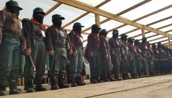 Foto: Integrantes del Ejército Zapatista de Liberación Nacional durante una reunión, 7 agosto 2019
