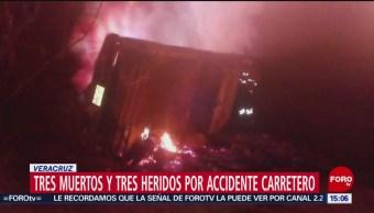FOTO: Fallecen tres personas tras accidente carretero en Veracruz, 18 Agosto 2019