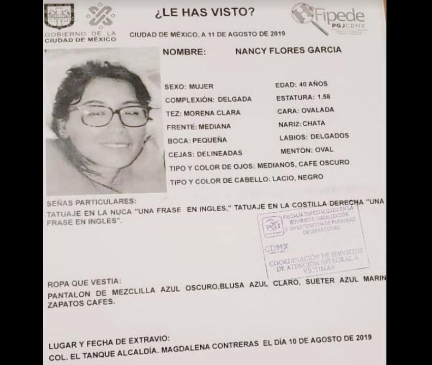 Nancy Flores desapareció el pasado 10 de agosto.