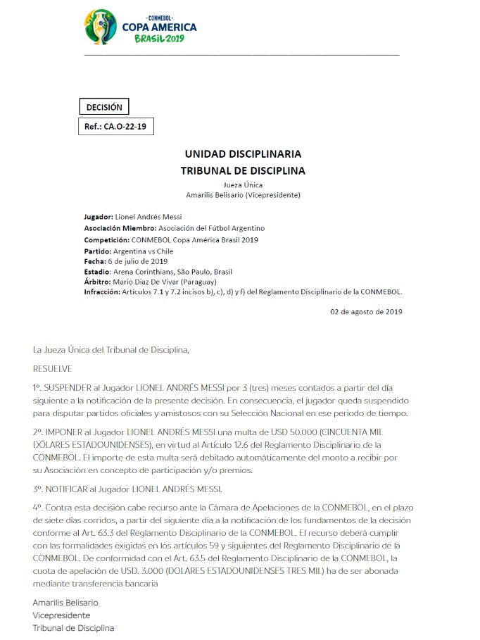 Comunicado de la Conmebol. www.conmebol.com