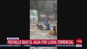 Fresnillo bajo el agua por lluvia torrencial en Zacatecas