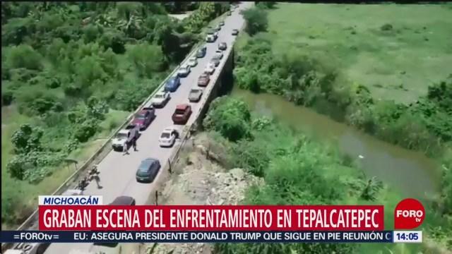 FOTO: Graban escena del enfrentamiento en Tepalcatepec, Michoacán, 31 Agosto 2019