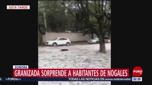 FOTO: Granizada sorprende a habitantes de Nogales, Sonora, 4 Agosto 2019