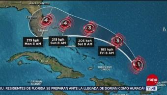 Huracán 'Dorian' se fortalece mientras avanza a Florida