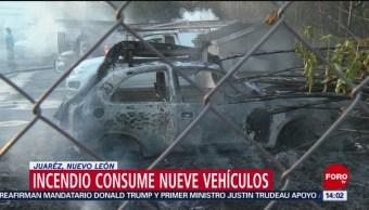 FOTO: Incendio consume nueve vehículos estacionados en empresa de NL, 18 Agosto 2019