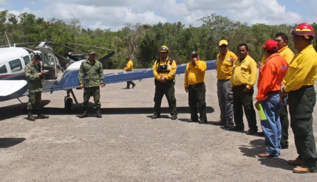 Foto: En los trabajos se han habilitado 12 kilómetros de brechas cortafuegos y 10 helipistas por donde descienden los helicópteros MI-1705, 24 de agosto de 2019 (Twitter @CONAFOR)