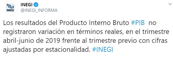 México creció 0.3% en segundo trimestre, Inegi revisó dato a la baja (Inegi)