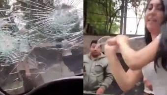 Foto Joven destroza parabrisas tras accidente vial, la llaman #LadyPiñata 7 agosto 2019