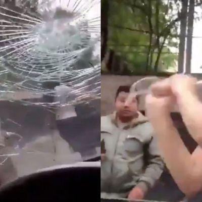 Joven destroza parabrisas tras accidente vial, la llaman #LadyPiñata