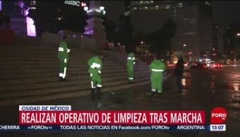 FOTO: Limpian daños tras marcha de mujeres en la CDMX, 17 Agosto 2019