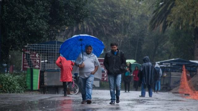 Foto: Cubiertos con paraguas y chamarras los capitalinos salen a la calle para poder desempeñar sus labores diarias, 31 agosto 2019