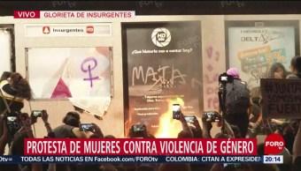 Foto: Manifestantes Prenden Fuego Estación Metrobús Insurgentes 16 Agosto 2019