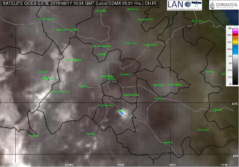 Foto: La imagen de satélite muestra cielo parcialmente nublado en el centro del país, 17 agosto 2019