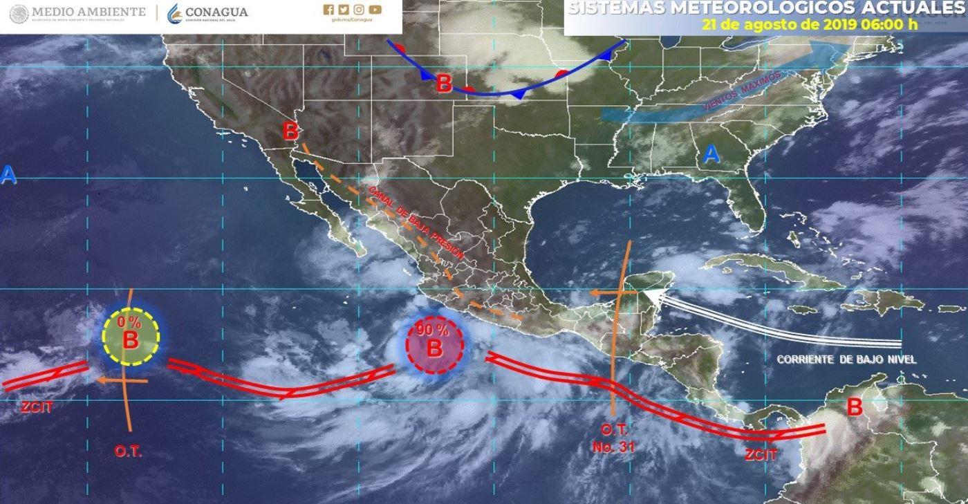 Mapa con el pronóstico del clima para este 21 de agosto de 2019. (SMN)