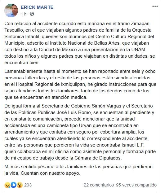 Mensaje del edil de Zimapán, Erick Marte.