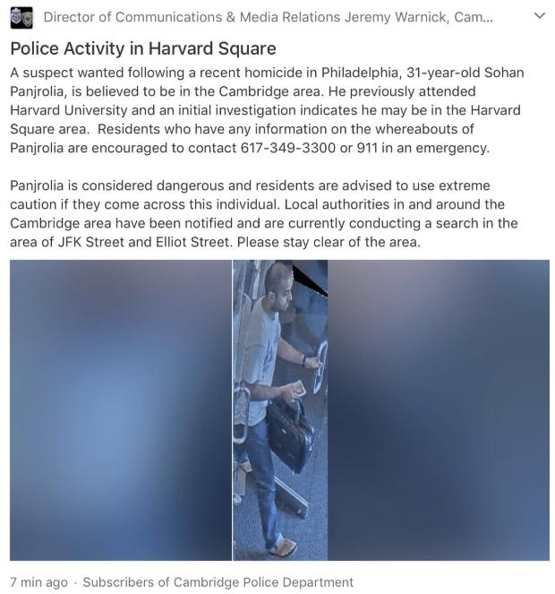 FOTO Detienen a presunto tirador en Universidad de Harvard. (Policía Cambridge)