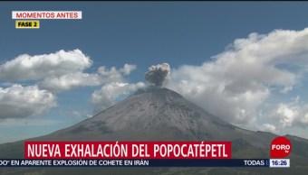 FOTO: Nueva exhalación del Popocatépetl la tarde de este sábado, 31 Agosto 2019