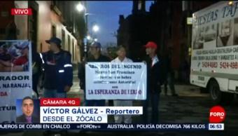 Obreros se manifiestan frente a Palacio Nacional en CDMX
