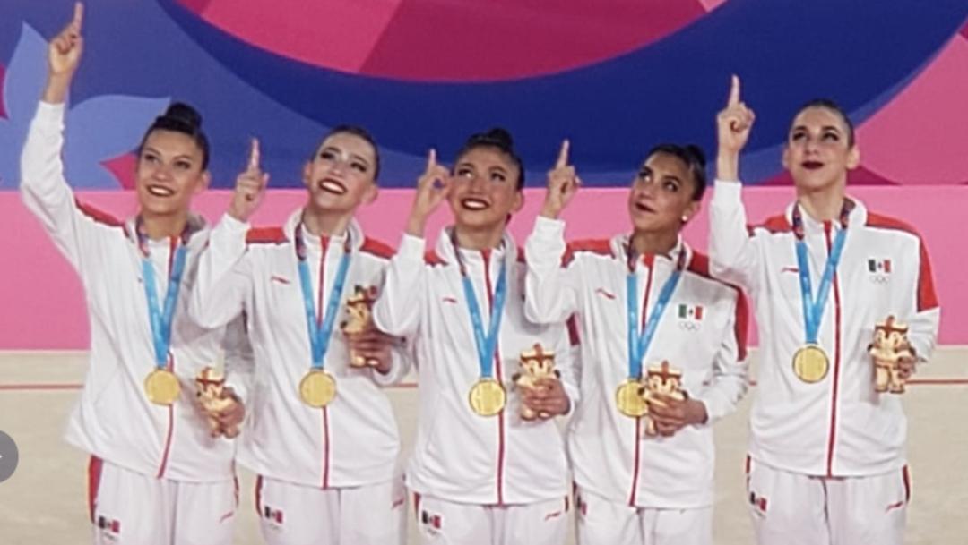 Fotos: El equipo mexicano de gimnasia rítmica gana por primera vez el oro en esta modalidad en unos Juegos Panamericanos, 3 de agosto de 2019 (Twitter @CONADE)