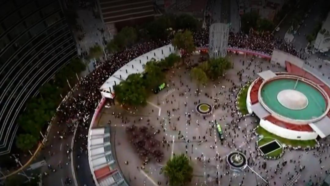 FOTO Protestas feministas del 16 de agosto en la CDMX, Glorieta de Insurgentes (Noticieros Televisa)