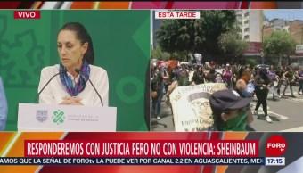 Foto: Provocación Protesta Mujeres PGJ-CDMX Claucia Sheinbaum