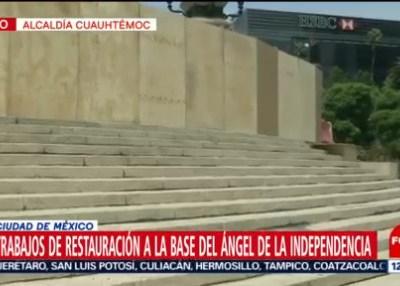 Realizan trabajos de restauración en el Ángel de la Independencia