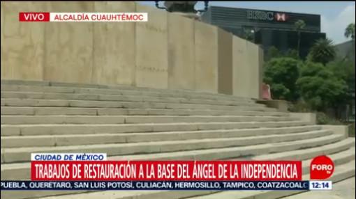 FOTO: Realizan trabajos de restauración en el Ángel de la Independencia, 17 Agosto 2019