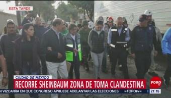 FOTO: Recorre Sheinbaum zona de toma clandestina en CDMX, 25 Agosto 2019