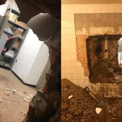 En San Luis Potosí, ladrón abre boquete para robar bóveda de banco