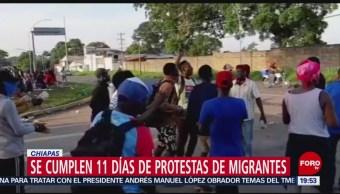 Foto: Cumplen 11 Días Protestas Migrantes Chiapas 29 Agosto 2019