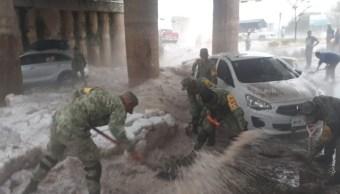 Ejército aplica Plan DN-III-E en Zapopan, Jalisco, tras granizada.